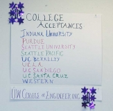 May and Anisha were accepted into these colleges and universities.