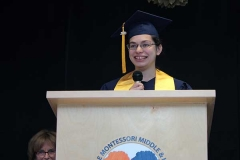 Anisha Chutani, valedictorian and WMS's first National Merit Scholar, spoke first.