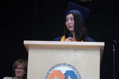 Graduate Megan Hong speaks.